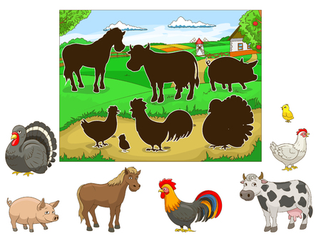 have fun: Match the animals to their shadows child game cartoon hand drawn vector illustration
