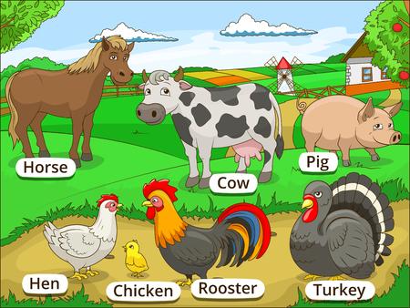 cartoon farmer: Farm animals with names cartoon educational illustration Illustration
