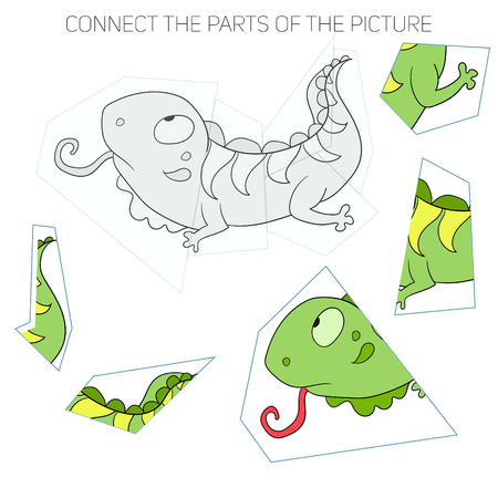 other keywords: Puzzle game for children cartoon doodle hand drawn iguana