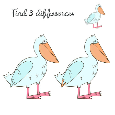 have fun: Find differences kids layout for game pelican cartoon hand drawn doodle vector illustration Illustration