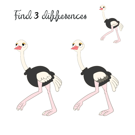 have fun: Find differences kids layout for game ostrich cartoon doodle hand drawn vector illustration