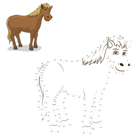 Connect the dots game horse cartoon colorful vector illustration