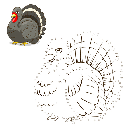 joining the dots: Connect the dots game turkey cartoon colorful vector illustration