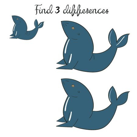 Find differences kids layout for game seal doodle hand drawn cartoon vector illustration Illustration