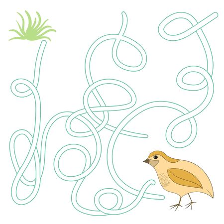 Game labyrinth find a way quail cartoon doodle hand drawn vector illustration