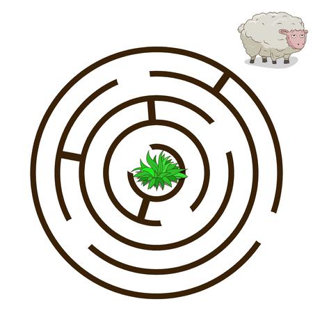 sheep cartoon: Game labyrinth find a way sheep cartoon colorful vector illustration