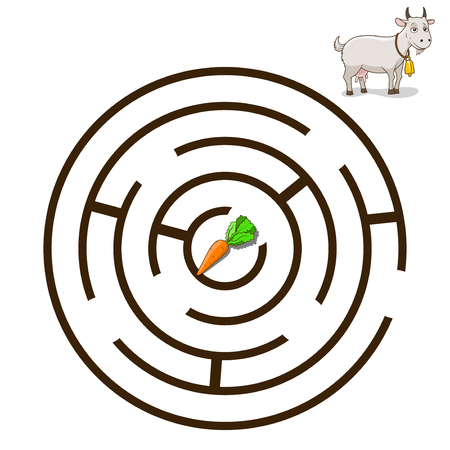have fun: Game labyrinth find a way goat cartoon colorful vector illustration