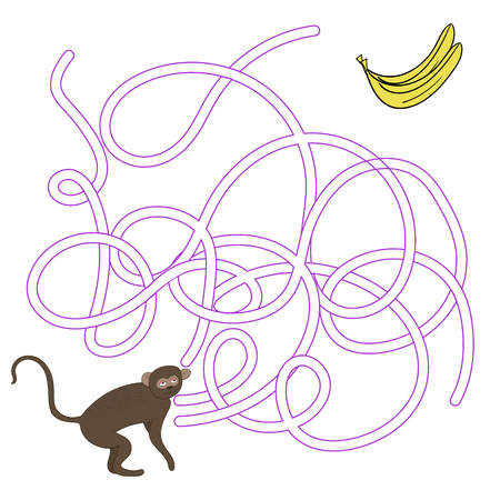 ape: Game labyrinth find a way vervet ape cartoon hand drawn doodle monkey vector illustration