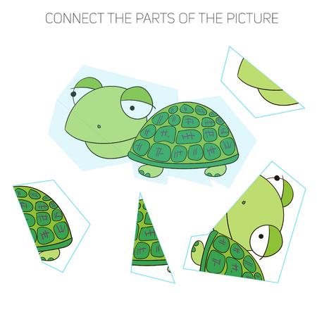other keywords: Puzzle game for chldren turtle cartoon doodle hand drawn vector illustration Illustration