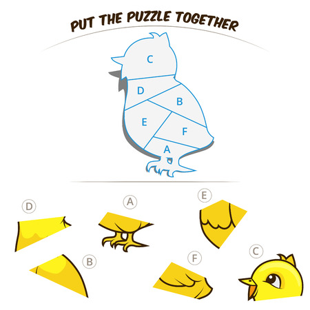 baby chicken: Puzzle game for children chicken cartoon hand drawn vector illustration Illustration