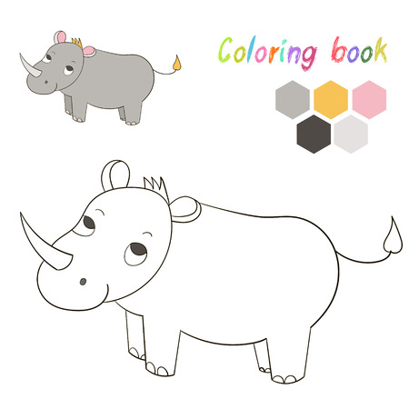 Coloring Book Rhino Kids Layout For Game Hand Drawn Doodle Cartoon Vector Illustration