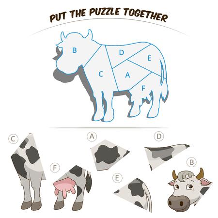 children cow: Puzzle game for children cow cartoon hand drawn vector illustration
