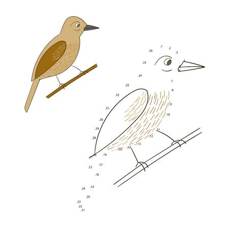 game bird: Connect the dots game bird cartoon doodle hand drawn vector illustration