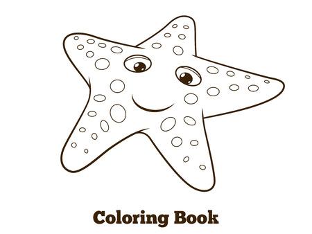 Coloring Book Starfish Fish Cartoon Colorful Vector Educational Illustration