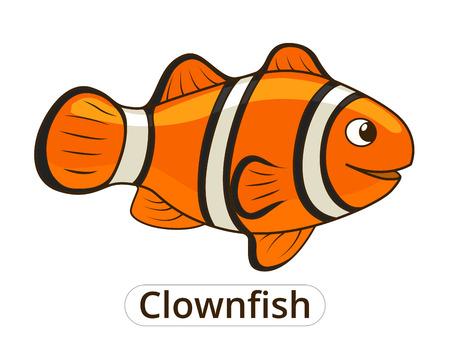 クマノミ海魚漫画の子供のためのカラフルなベクトル図