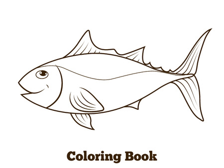 tunny: Coloring book tunny fish cartoon educational vector illustration Illustration