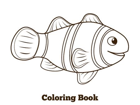 pez payaso: Libro pez payaso para colorear de dibujos animados peces de colores ilustraci�n vectorial educativa Vectores