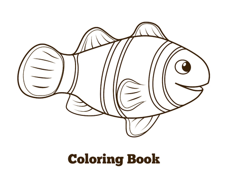 Coloring book clownfish fish cartoon colorful vector  educational illustration
