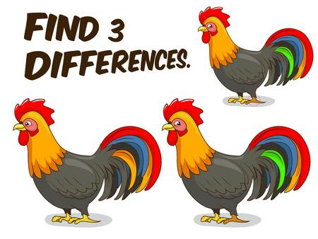 gallo: Encuentra las diferencias juego de dibujos animados gallo colorida ilustraci�n vectorial