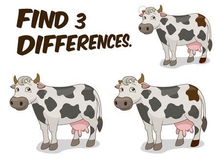 Encuentra las diferencias juego de dibujos animados de la vaca colorida ilustración vectorial