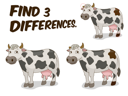 cow vector: Find differences game cow cartoon colorful vector illustration Illustration