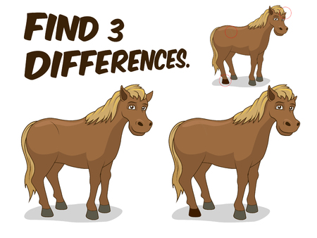 have fun: Find differences game horse cartoon colorful vector illustration Illustration