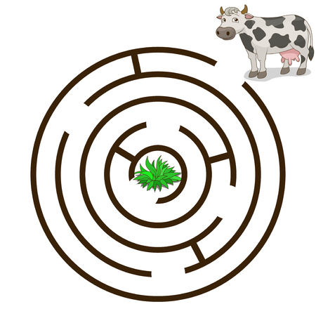 Game labyrinth find a way cow cartoon colorful vector illustration