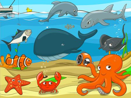 子供水中生活背景漫画カラフルなベクトル イラストの教育的なゲーム
