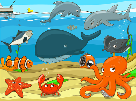 whale underwater: Educational game for children underwater life background cartoon colorful vector illustration