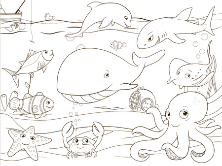 underwater life: Educational game coloring book underwater life animals vector illustration