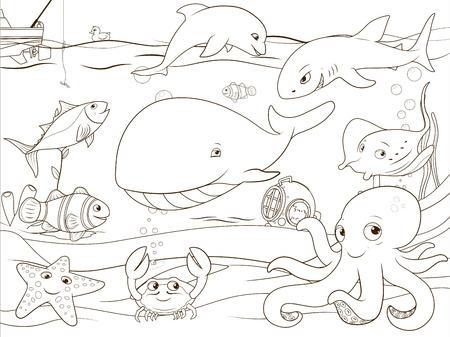 Animales Bajo El Agua Y Los Peces Con La Ilustración Educativa ...