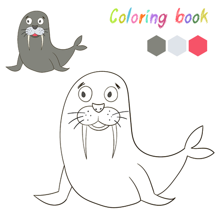 have fun: Coloring book bird seal kids layout for game cartoon doodle hand drawn vector illustration