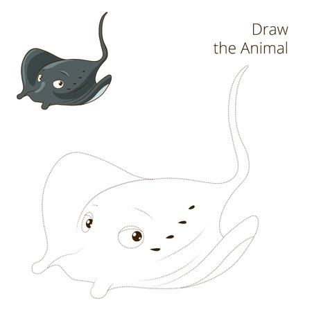 have fun: Draw the fish animal stingray educational game vector illustration