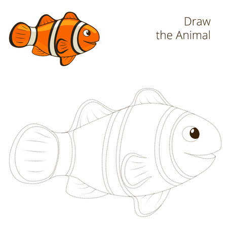 clownfish: Draw the fish animal clownfish educational game vector illustration