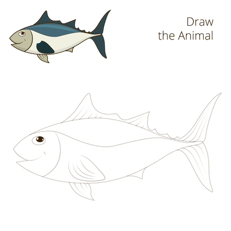 tunny: Draw the fish tunny educational game vector illustration