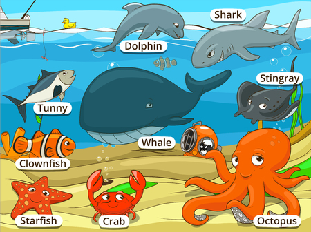 Underwater animals and fish with names cartoon educational illustration