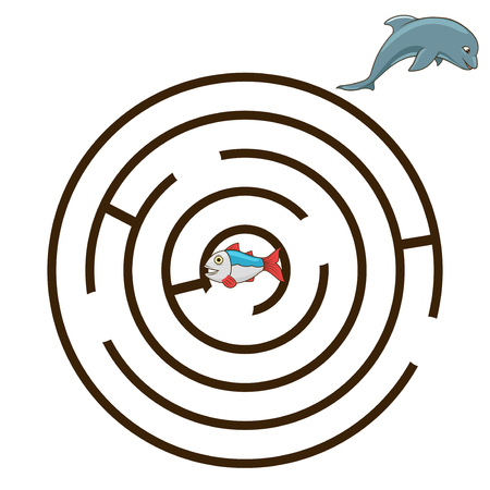 have fun: Game labyrinth find a way dolphin vector illustration