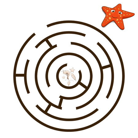 riddles: Game labyrinth find a way starfish vector illustration