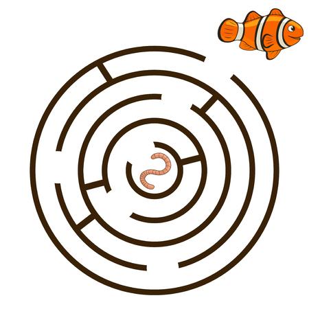 Spiel Labyrinth einen Weg finden, Clownfische Vektor-Illustration Standard-Bild - 46526755