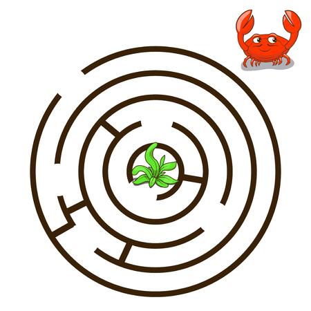 cangrejo: Laberinto juego Encuentra una ilustración vectorial forma de cangrejo