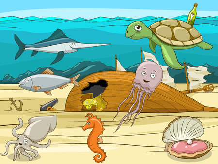 wrecked: Sea life cartoon educational colorful vector illustration Illustration