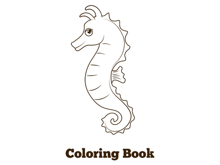 horse fish: Coloring book sea horse fish cartoon vector  educational illustration
