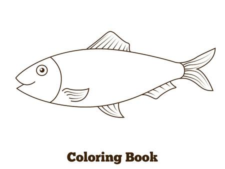 Vecteur de bande dessinée livre de coloriage pêcher le hareng illustration éducatif Banque d'images - 46526964