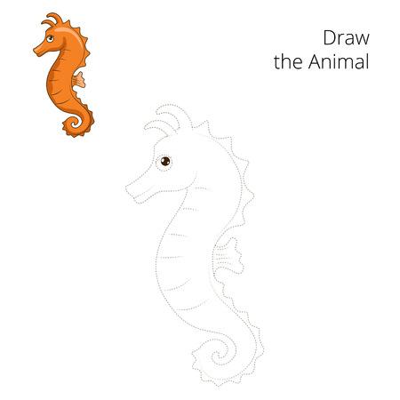 caballo de mar: Dibujar la ilustración vectorial juego educativo caballito de mar