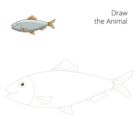 game fish: Draw the herring fish educational game vector illustration