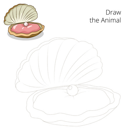 oyster: Draw the oyster educational game vector illustration Illustration