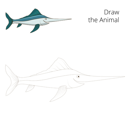 sword act: Draw the swordfish educational game vector illustration