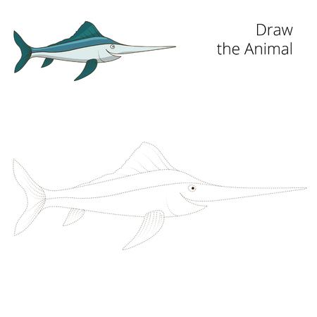 sword act: Draw the swordfish educational game vector illustration