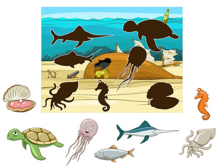 underwater ocean: Match the underwater animals and fish to their shadows child game vector illustration