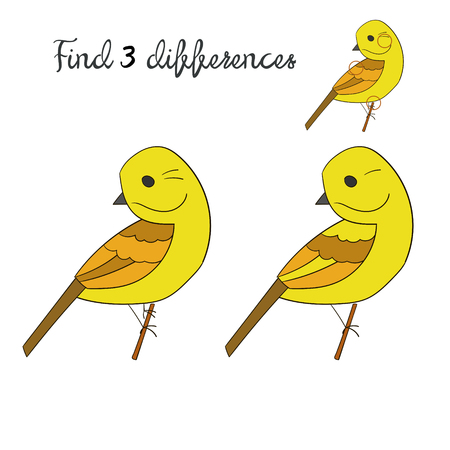 game bird: Find differences kids layout for game yellowhammer bird cartoon doodle hand drawn vector illustration